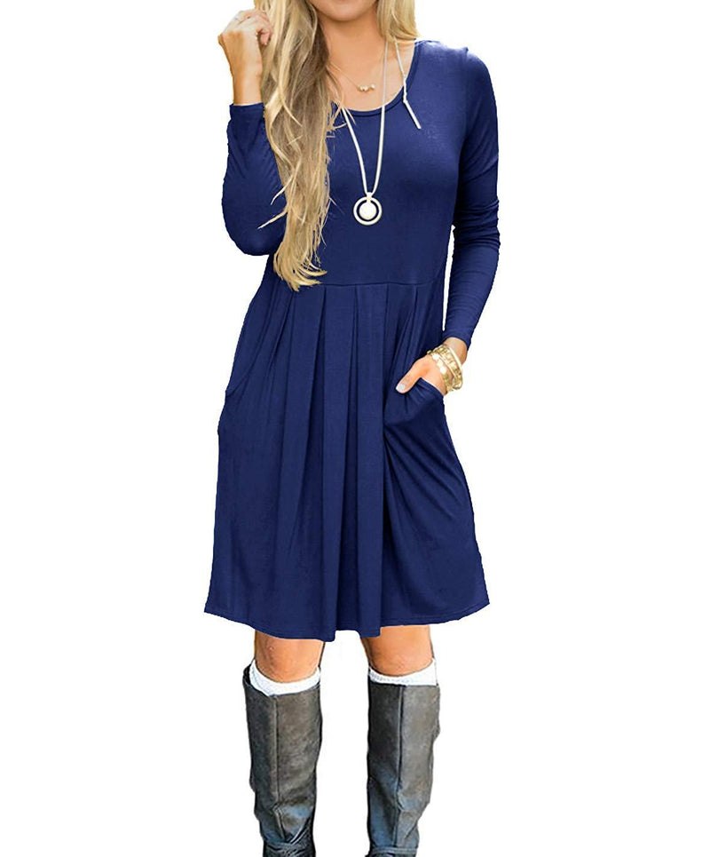 Naokenu Women Long Sleeve Casual T Shirt Dress Cotton Pleated Loose Tunic Dress with Pockets