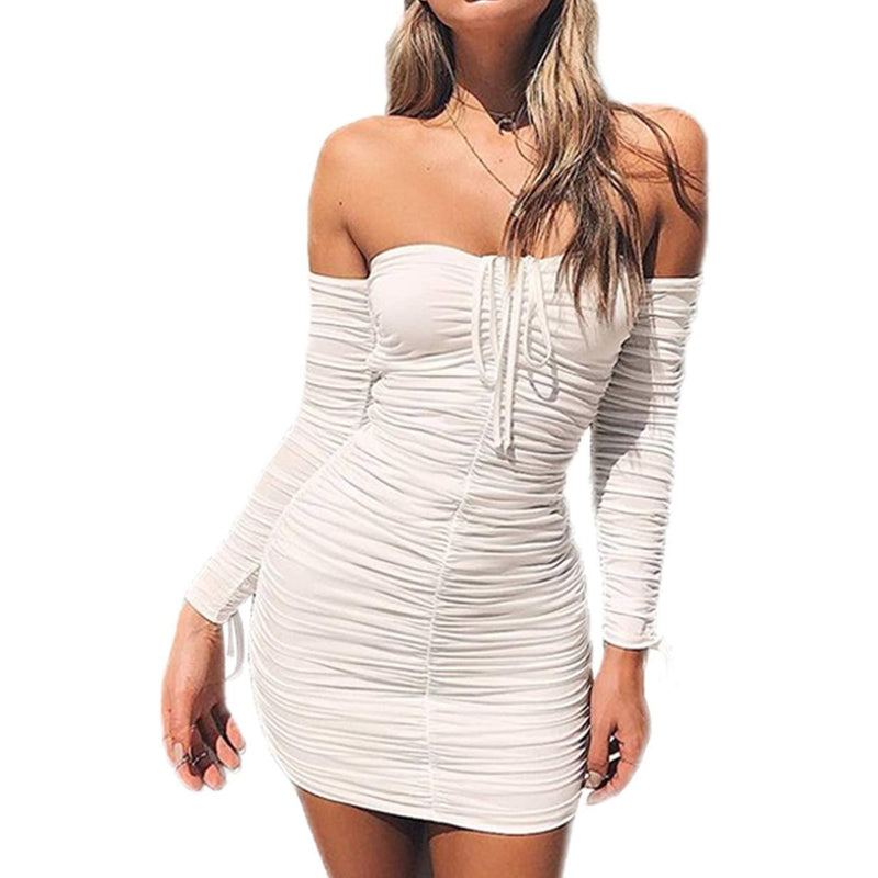 PORRCEY Women's Juniors Off The Shoulder Bodycon Night Club Mini Dress for Party
