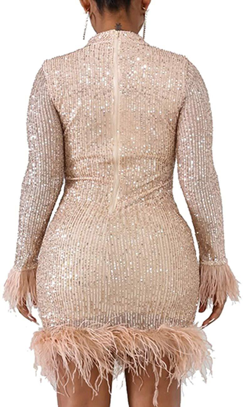 WISEFIN Women's Long Sleeve Sparkle Sequin Party Dress Glitzy Glam Feather Cocktail Bodycon Clubwear