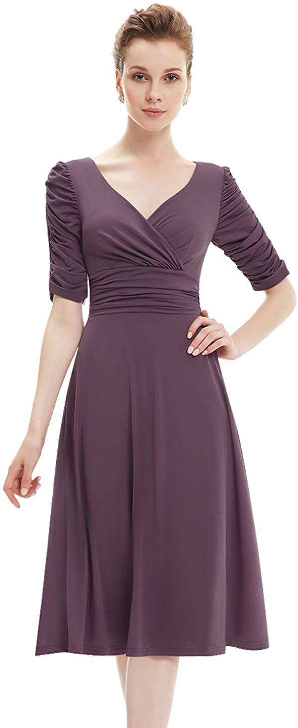 Ever-Pretty 3/4 Sleeve Ruched Waist Classy V-Neck Casual Cocktail Dress 03632