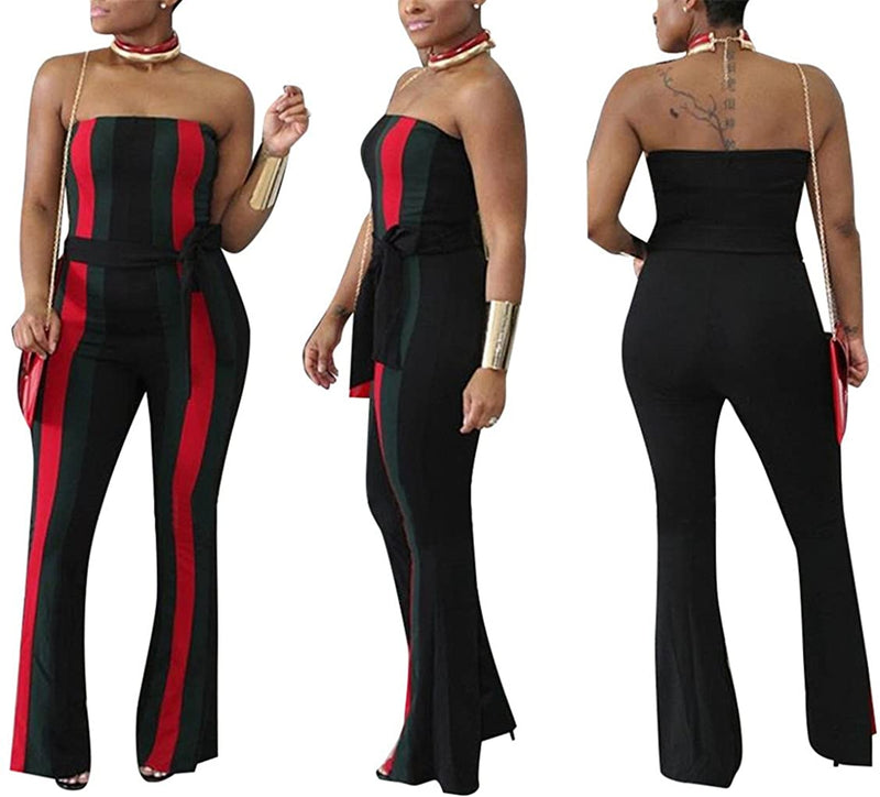 Speedle Womens Off Shoulder Sleeveless Long Pants Stripe Jumpsuits Romper with Belt