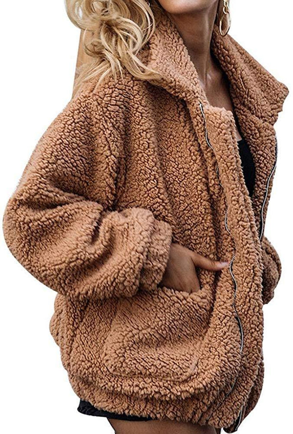 Gets Women Faux Fleece Jacket,Lapel Zipper Shaggy Shearling Fuzzy Coat Warm Winter Oversized Outwear with Pockets