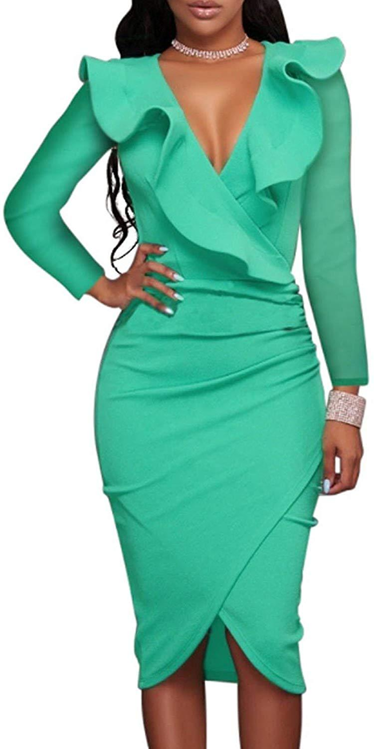 Voguegirl Women's Elegant Off Shoulder Ruffle Party Bodycon Mermaid Midi Dress