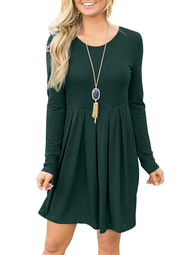 Fanfly Women Long Sleeve Pleated Loose Swing Casual T Shirt Dress with Pockets Knee Length