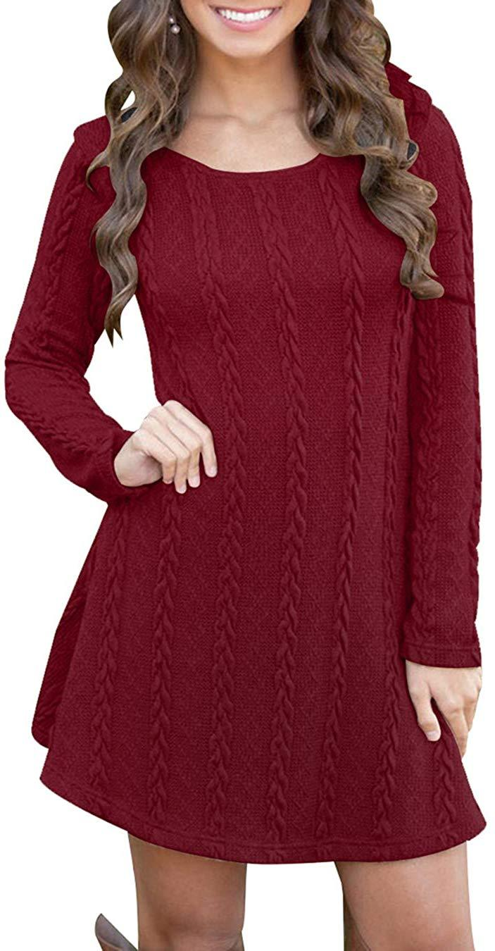 EFOFEI Womens Long Sleeve Knitted Casual Loose Round Neck Sweater Mini Dress