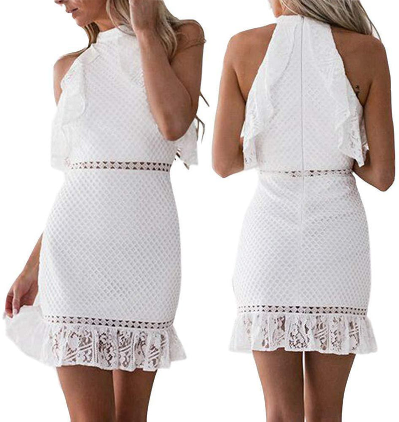 Shyby Dress, New Summer White Midi Dress Womens Sexy Lace Bodycon Cocktail Ladies Party Pencil Dress Bandage Dresses