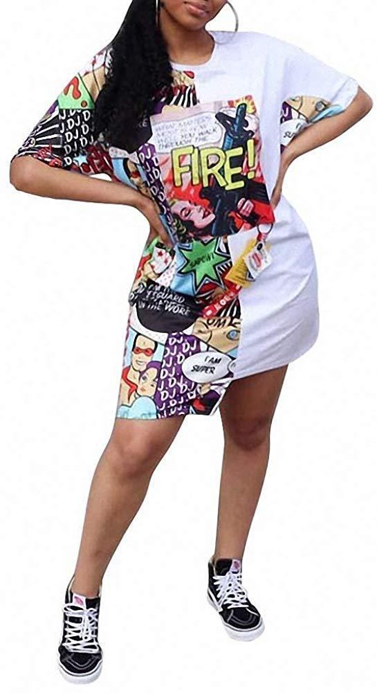 Remelon Womens Casual Short Puff Sleeve Digital Graffiti Print Loose Tunic T-Shirt Mini Dress 1