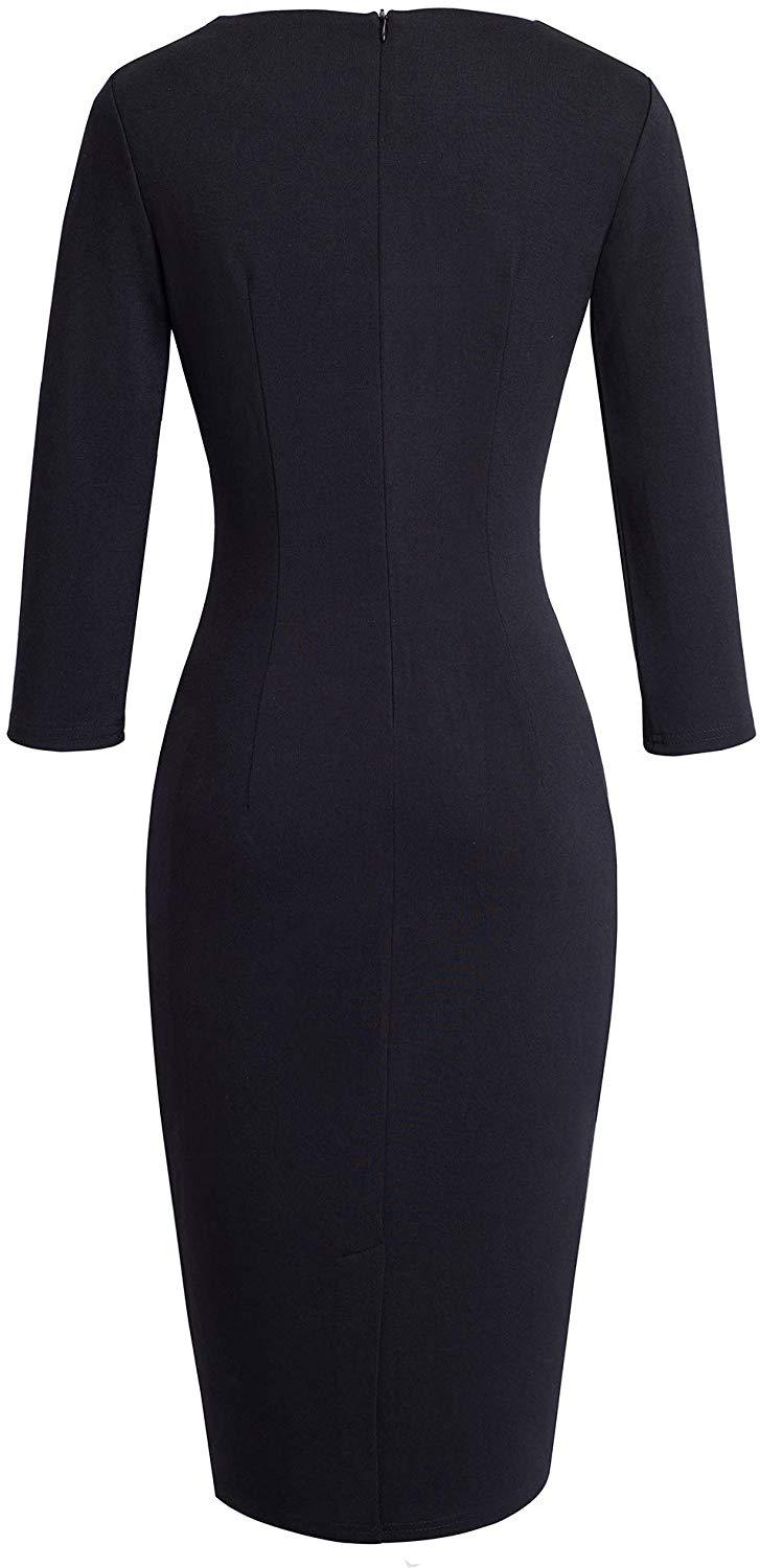 VELJIE Women's Elegant 3/4 Sleeve Wear to Work Casual Pencil Dress