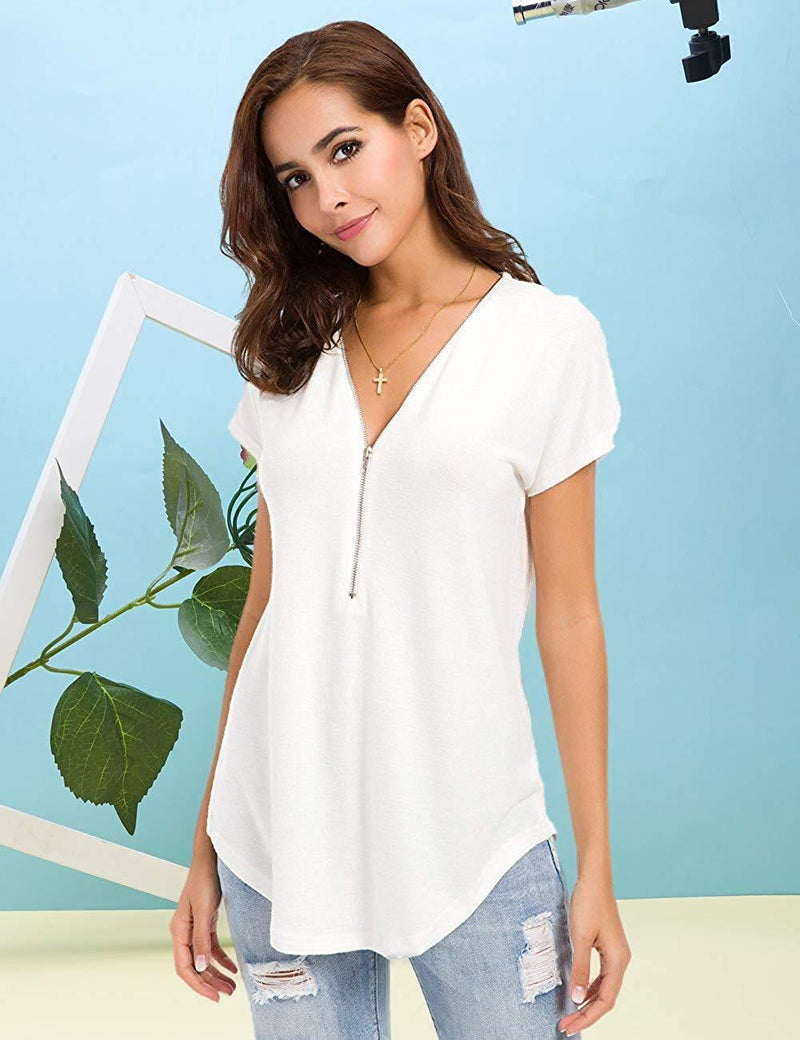 Women's Tops Sexy Deep V Neck Zip Up Short Sleeve T-Shirt Tunic Casual Loose Blouse