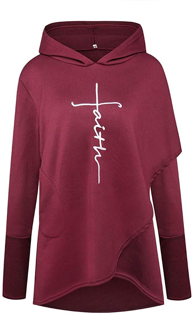 YEMOCILE Women Faith Letter Printed Graphic Hoodies Pullover Long Sleeve Sweatshirt with Pockets