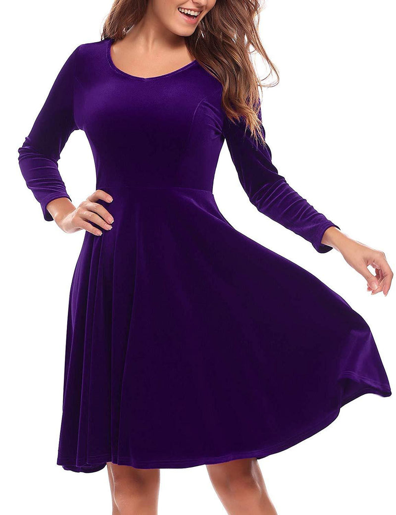 BURLADY Women's Dress Long Sleeve Party Dress A Line Flared re Dress Knee Length Swing Dress