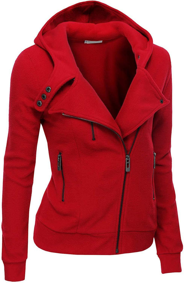 Doublju Fleece Zip-Up High Neck Jacket for Women with Plus Size