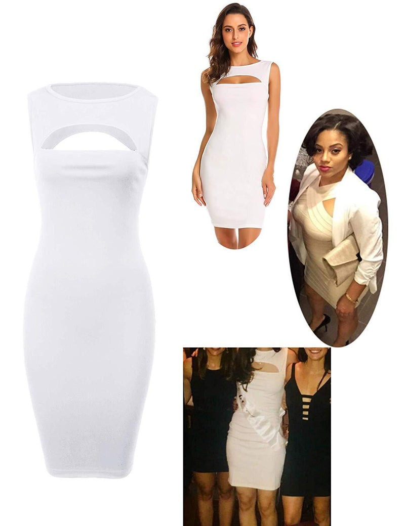 Jeere Women's Sexy Sleeveless Bandage Dress Cut Out Bodycon Party Dress
