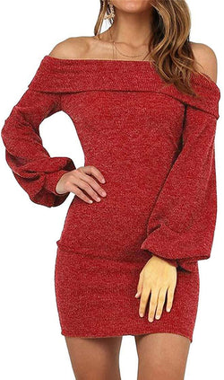 KAY SINN Womens Off Shoulder Bodycon Knit Sweater Dress with Long Puff Sleeve