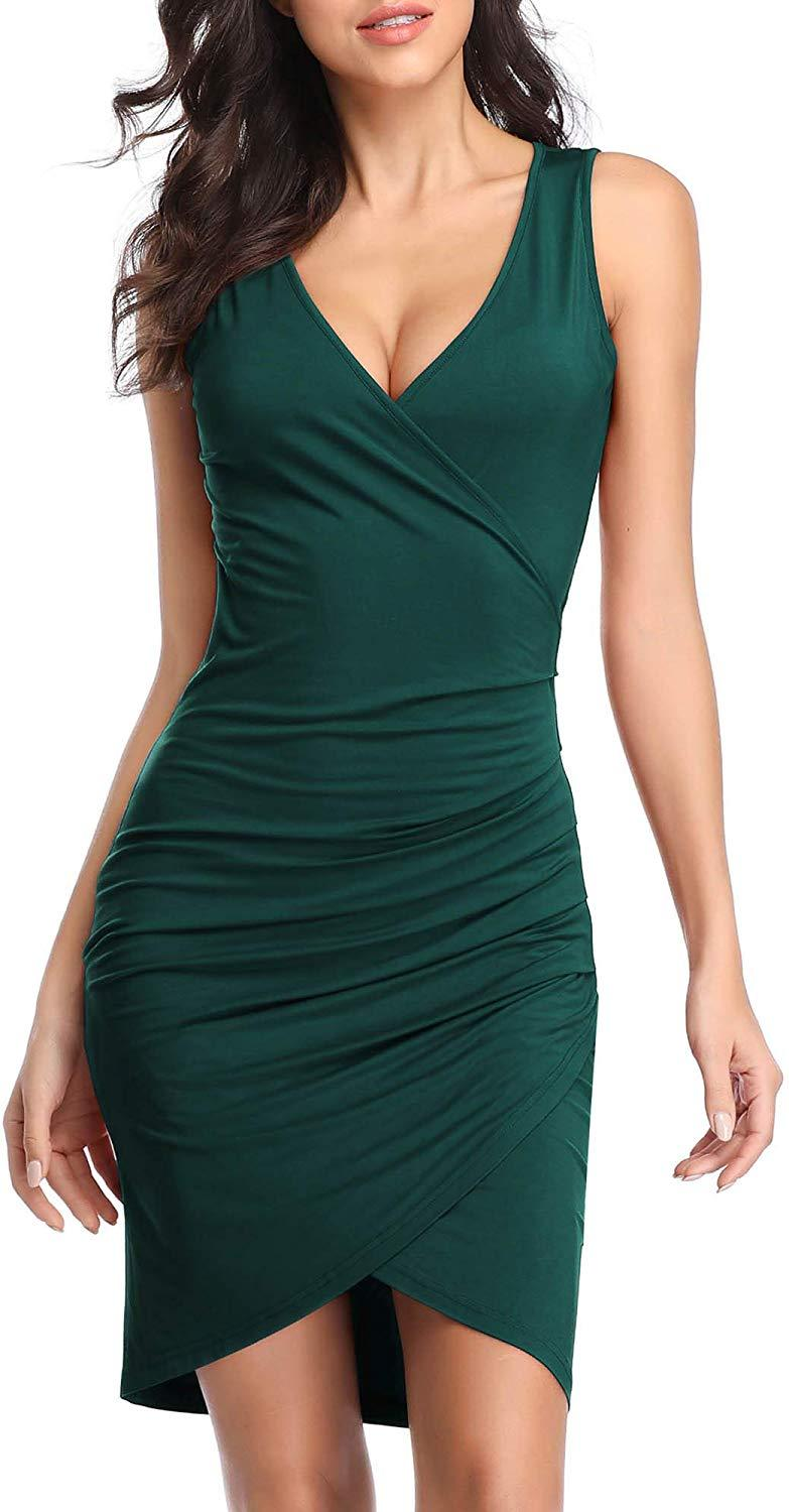VETIOR Women's Sleeveless Deep V Neck Wrap Ruched Bodycon Cocktail Party Mini Dress