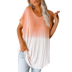Women's Summer Tops, Short Sleeve Dye Tie T-Shirt, Color Block Tunic Tops Blouse, Casual Dolman Shirts