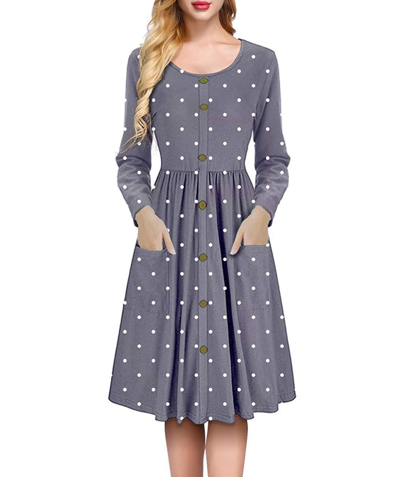 Mesitelin Women Long Sleeve Midi Dress Button Down Polka Printed Dress with Pockets