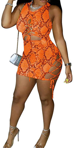 ECHOINE Women Sexy Snakeskin Print Short Sleeve Lace Up Mini Dress S XL