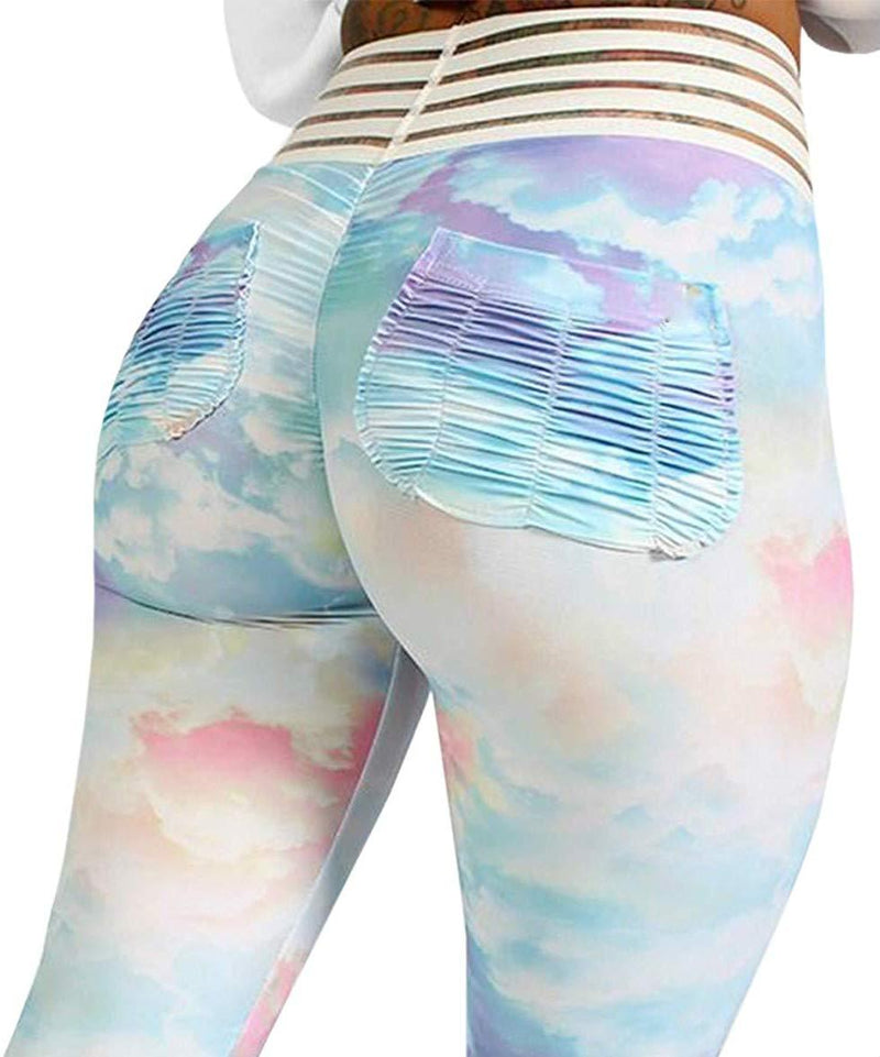 Meilidress Womens Ruched Butt Lifting Leggings High Waisted Workout Sport Tummy Control Gym Yoga Pants