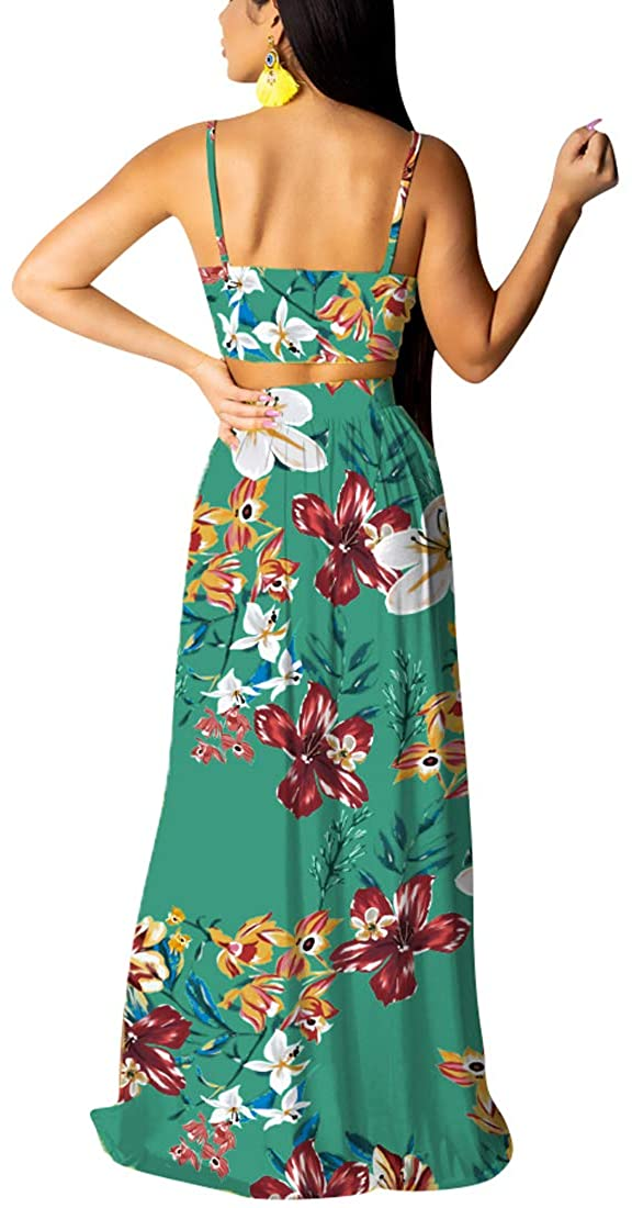 Nimsruc Women's Sexy 2 Piece Outfits Clubwear Summer Chiffon Dress Floral Sleeveless Crop Tops and Maxi Skirt Sets