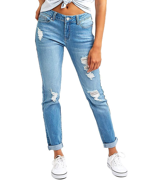 Resfeber Women's Boyfriend Jeans Comfy Stretch Ripped Jeans Distressed Denim Skinny Jeans