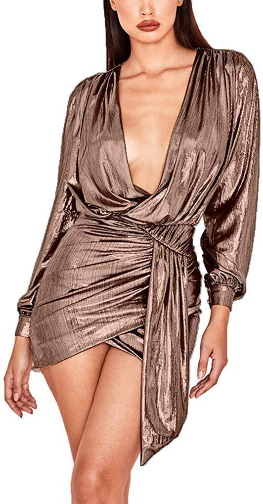 Ophestin Womens Sexy Deep V Neck Metallic Glitter Ruched Long Sleeve Party Dress