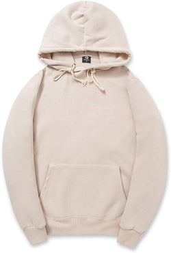 CORIRESHA Simple Style Soft Cotton Plain Color Hoodie Long Sleeve Drawstring Hooded Sweatshirt