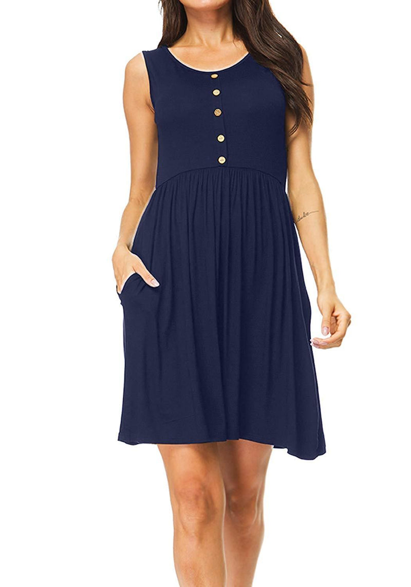 SouqFone Women's Loose Casual Dresses Pleated Swing Dress with Pockets Knee Length
