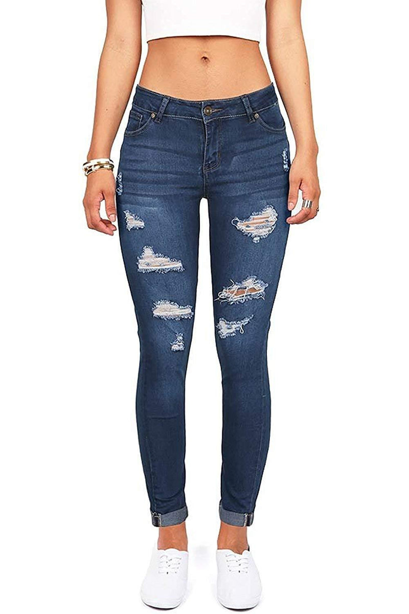 Women's Juniors Distressed Denim Jeans High Waisted Stretch Ripped Skinny Jegging Pants