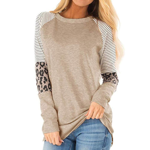 Women's Long Sleeve T Shirt Leopard Print Tops Round Neck Long Sleeve Patchwork Striped Shirt Casual Blouse Tops