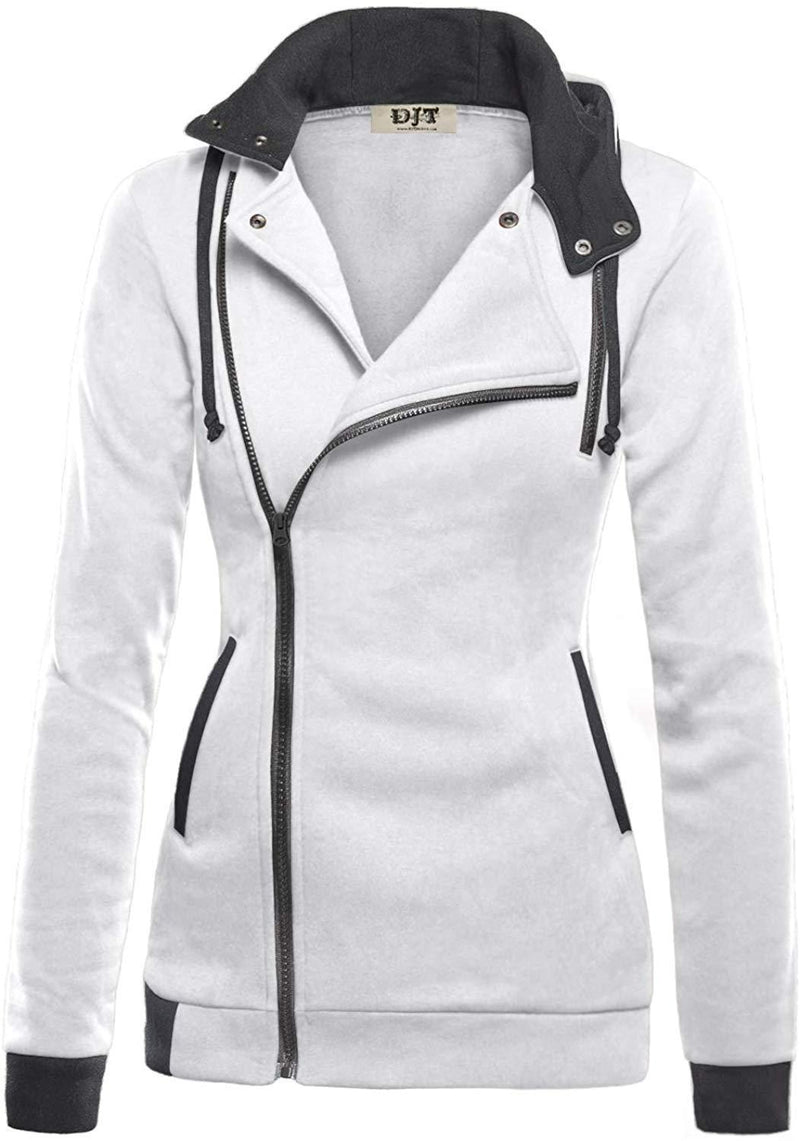 DJT Womens Oblique Zipper Slim Fit Hoodie Jacket