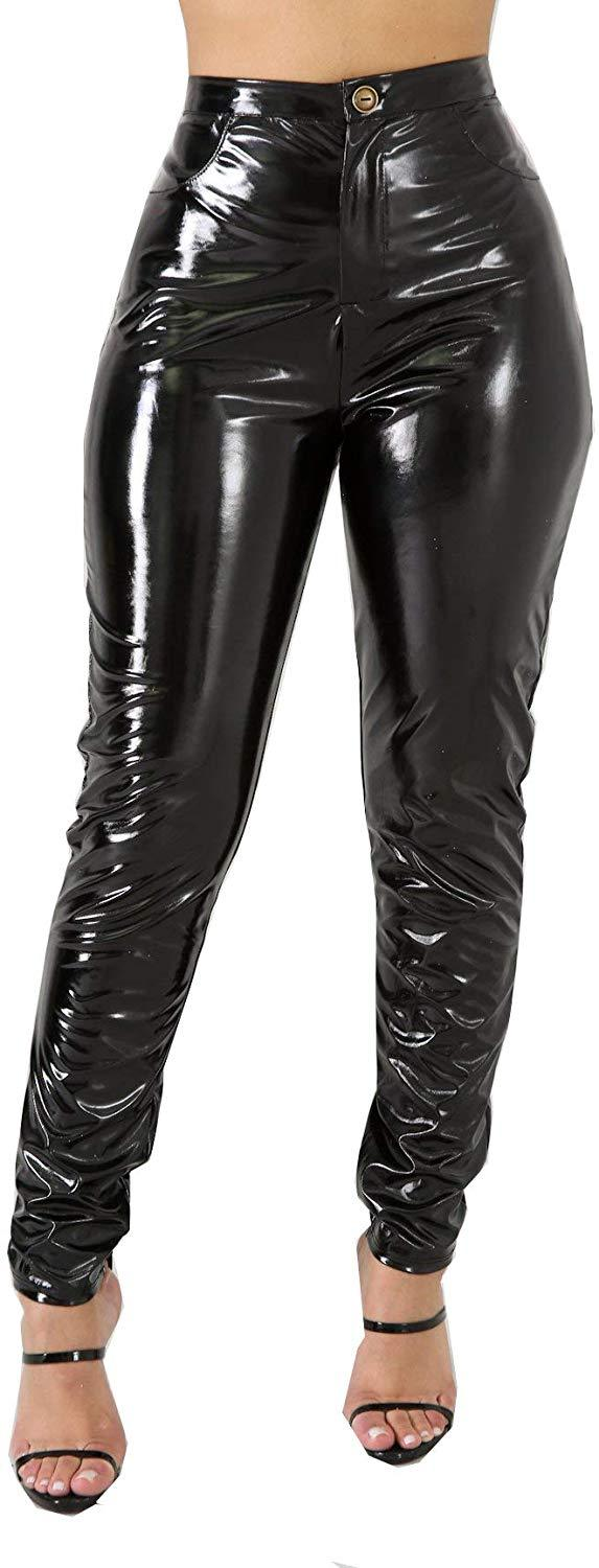 Doris Apparel Latex Pants for Women Sexy Hight Waist PU Leather Lined Legging Trousers
