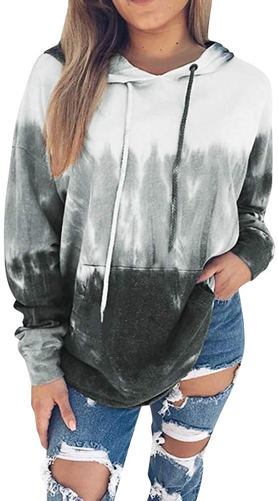 Handyulong Women's Hoodies Long Sleeve Tie Dye Sweatshirts Teen Girls Casual Hooded Pullover Jumper Tops with Pockets