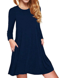 ATOPDREAM Women's Casual Long Sleeve Loose Swing T-Shirt Dress