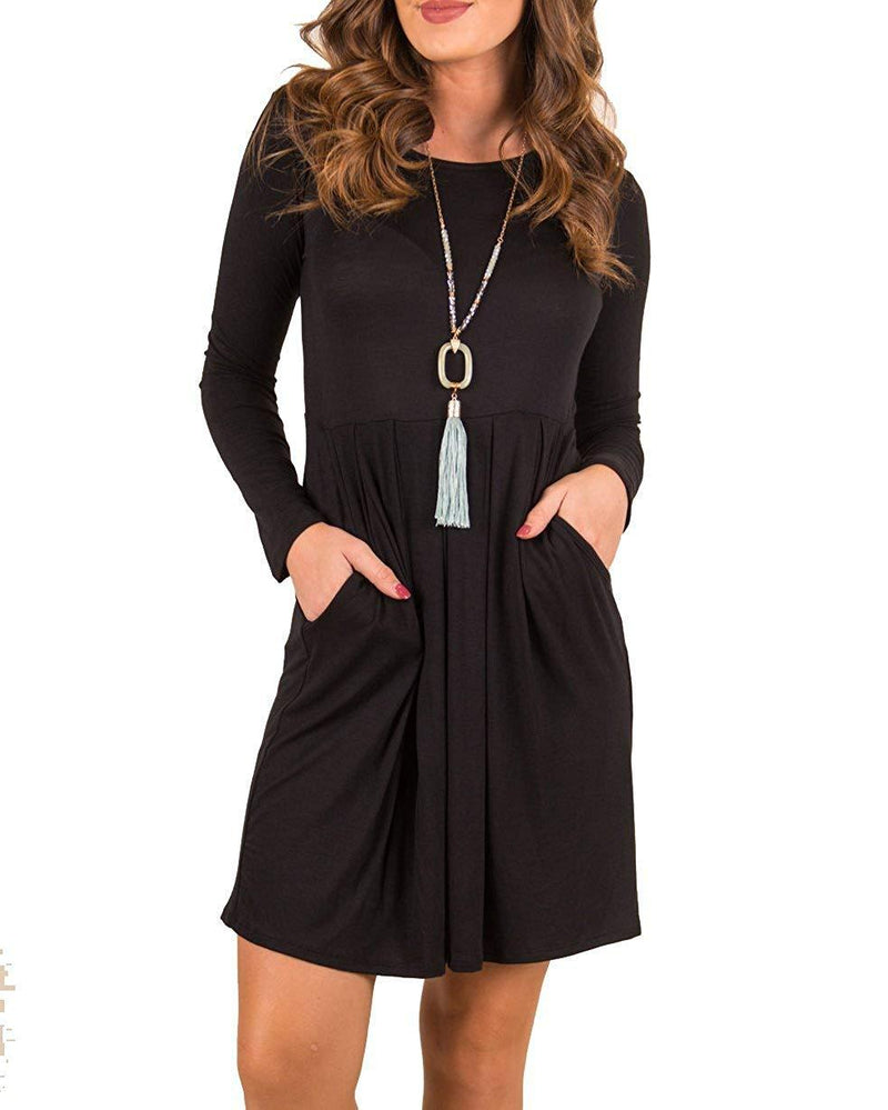 Valphsio Women's Loose Long Sleeve T Shirt Dress Solid Flare Tunic Dress with Pocket