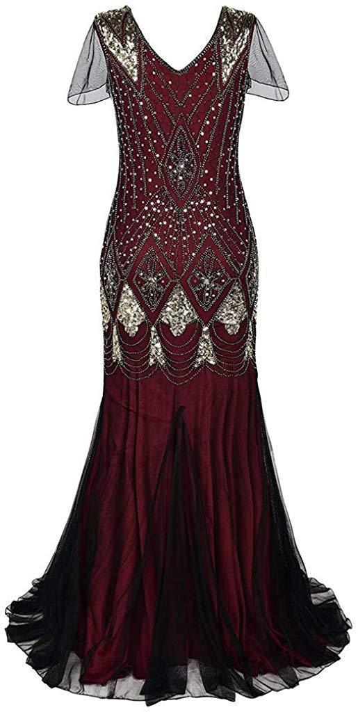 Women Vintage 1920s Sequin Beaded Fringe Art Deco Flapper Formal Evening Party Wedding Gown Long Dress