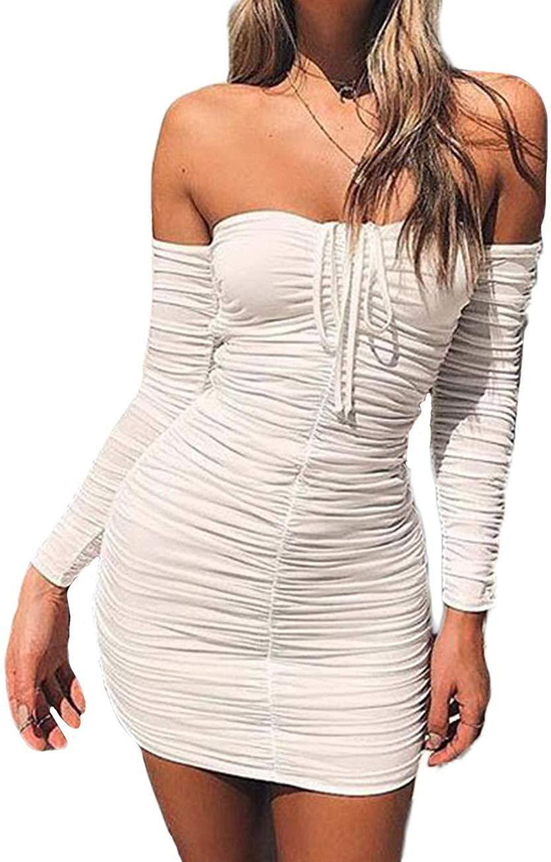 Haola Women's Sexy Off Shoulder Ruched Dress Long Sleeve Bodycon Party Tube Dresses