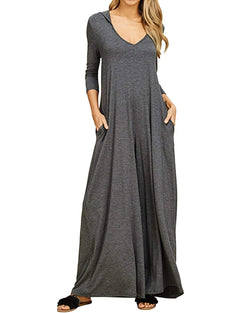 Jacansi Women Causal Loose Hoodie Maxi Dress V Neck 3/4 Sleeve Solid Long Dress