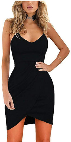 Zalalus Women's Elegant Spaghetti Straps Deep V Neck Sleeveless Bodycon Party Dress