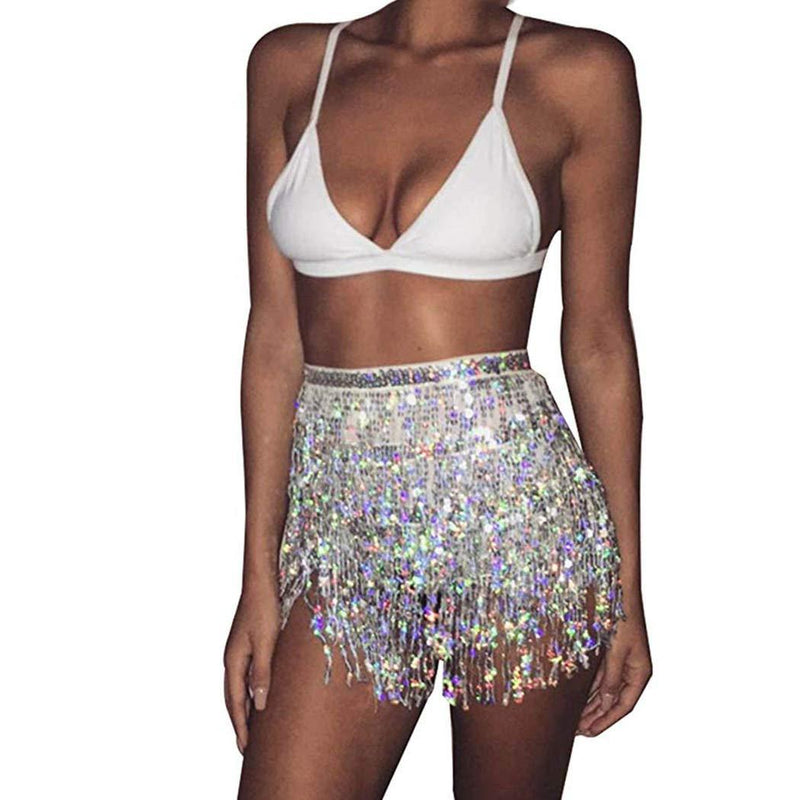 Victray Tassel Belly Dance Hip Skirts Performance Sequins Scarf Summer Beach Wraps Fashion Party Belts Body Accessories for Women and Girls (Gold)