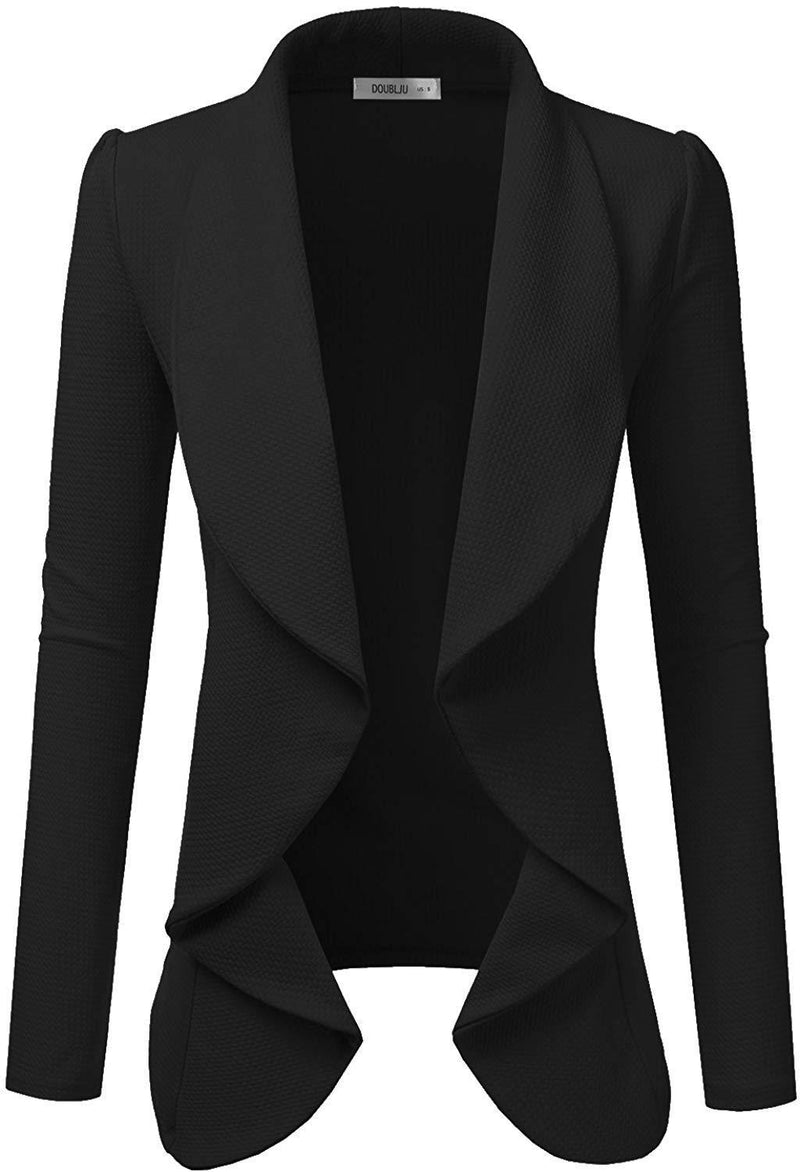 Doublju Classic Draped Open Front Blazer for Women with Plus Size