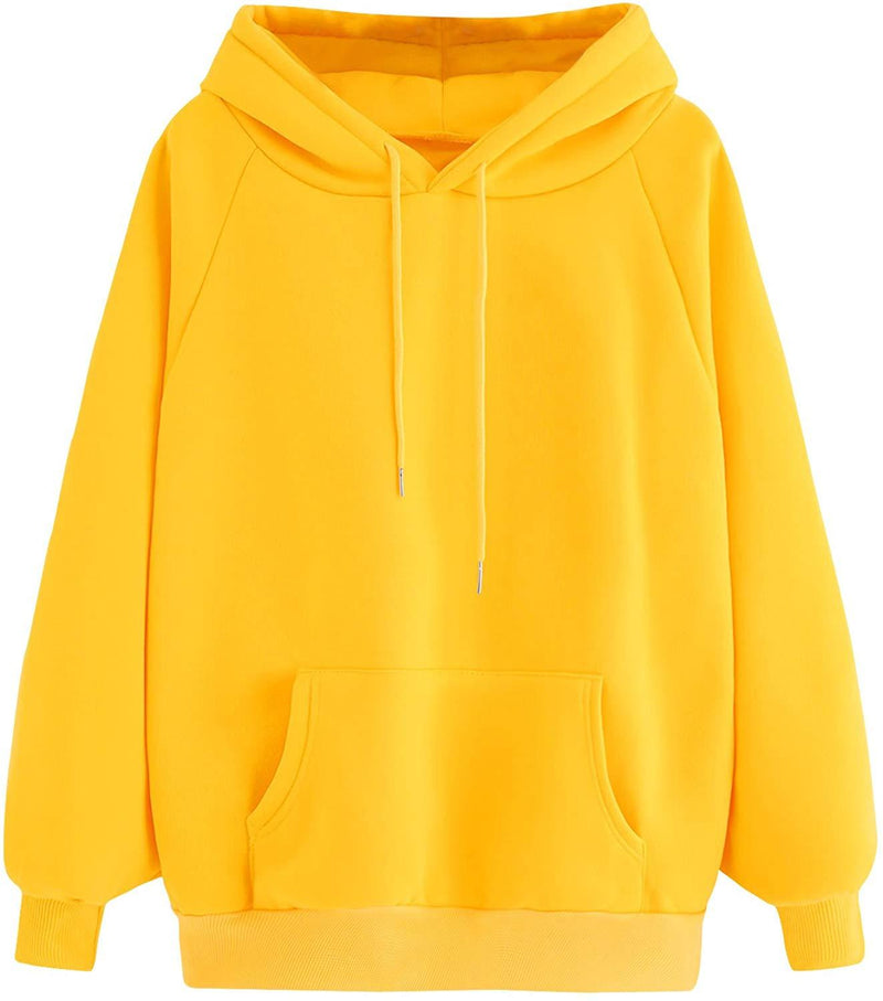 MAKEMECHIC Women's Winter Solid Color Loose Drawstring Pocket Hoodie Pullover Tops
