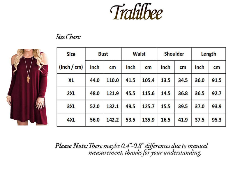 Tralilbee Women's Plus Size Cold Shoulder Dresses Long Sleeve Swing Casual Dress with Pockets