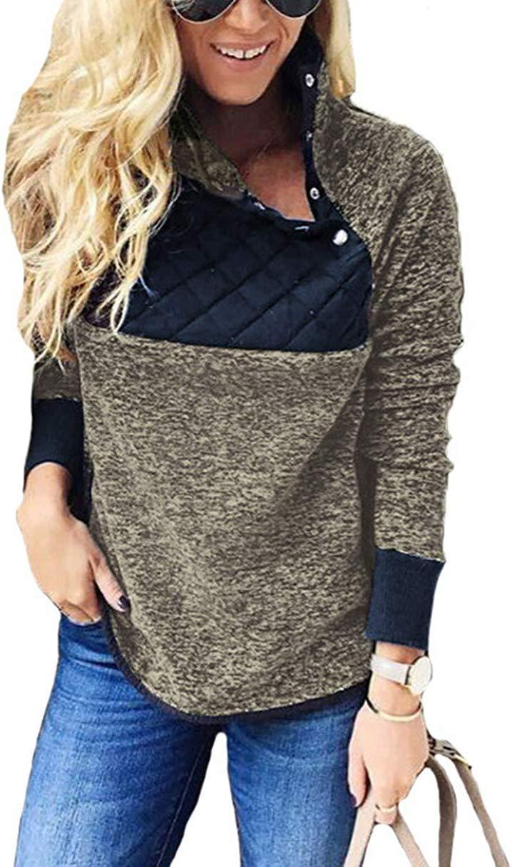 PRETTYGARDEN Women's Warm Long Sleeves Oblique Button Neck Splice Geometric Pattern Fleece Pullover Coat Sweatshirts Outwear