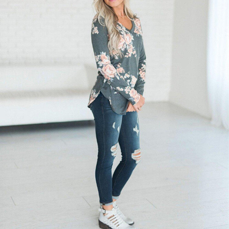 2020 Women's Floral Blouse Long Sleeve Casual Loose Tunic Tops