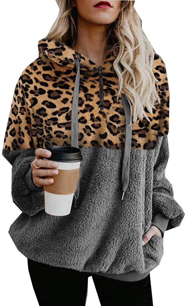 Tsun Women Casual Zip Front Long Sleeve Fuzzy Sweatshirt Leopard Print Pullover Tops Drawstring Hoodie with Pocket
