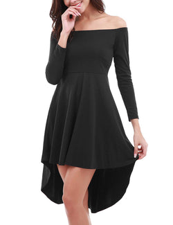 FISOUL Womens Off The Shoulder Long Sleeve High Low Cocktail Skater Dress