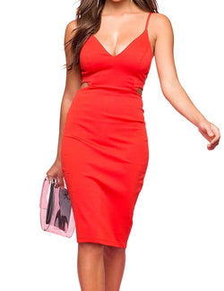 cmz2005 Women's Sexy Deep V Neck Spaghetti Straps Dresses Sleeveless Bodycon Tank Dress 71639