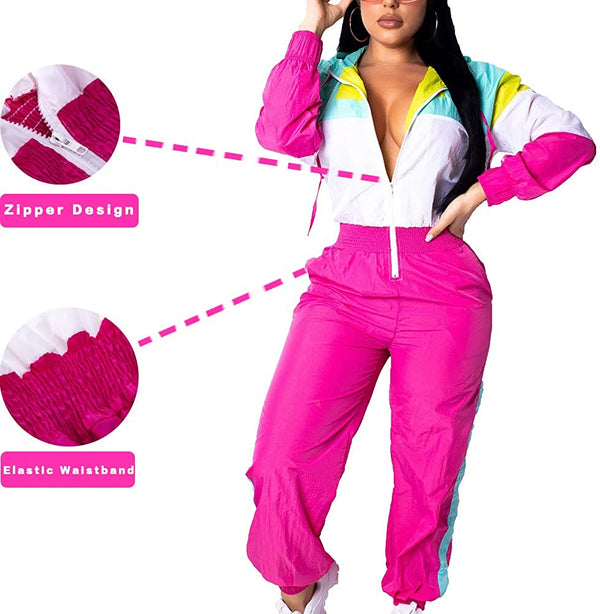 Women Colorblock One Piece Outfits Set High Waist Pants Long Sleeve Zipper Front Windbreaker Jumpsuit