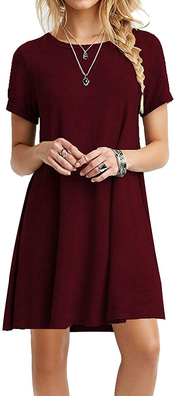 MOLERANI Women's Casual Plain Simple T-Shirt Loose Dress 1